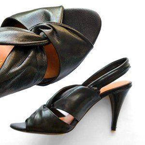 Modern Vintage Slingback Cross Leather Sandal Heel